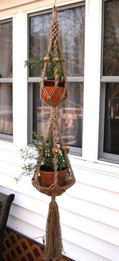 Shroooms Double Handmade Natural Jute Macrame Plant by Macramaking