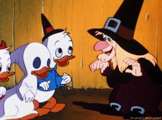 """A scene from Trick or Treat (1952) With lyrics to """"Trick or Treat for Halloween"""""""