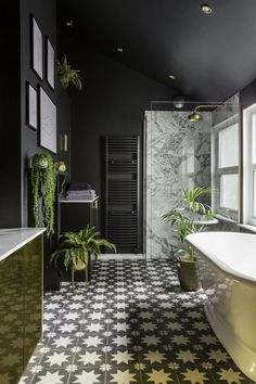 Looking for a contemporary bathroom decor look that channels the dark, moody int… - Modern Art Deco Bathroom, Boho Bathroom, Bathroom Trends, Bathroom Floor Tiles, Bathroom Interior, Modern Bathroom, Small Bathroom, Bathroom Ideas, Bathroom Renovations