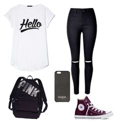"""""""Hello.., It's Tuesday"""" by jadesfit on Polyvore featuring WithChic, Victoria's Secret, Balmain and Converse"""