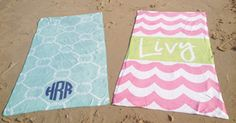 Monogrammed Beach Towels from haymarketdesigns...cute website for personalized items