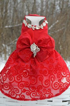 ༻❁༺ ❤️ ༻❁༺ Dog Harness Dress Red Bling Patriotic Valentines // By KOCouture | $225 ༻❁༺ ❤️ ༻❁༺