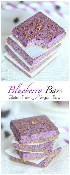 Gluten Free Blueberry Bars Recipe (gluten free vegan raw) Naturally beautiful blueberry oat bars bursting with real blueberries. Food allergy friendly!: