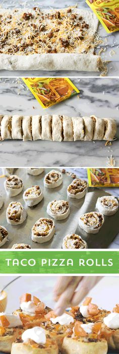 Looking for a new twist on taco night - or a delicious appetizer to share? Try these Taco Pizza Rolls from @The Girl Who Ate Everything! Roll up Old El Paso™ seasoned taco meat and cheese, and bake! Voila! They're ready in 25 minutes and sure to please your hungry crowd!