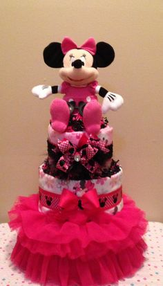 Baby Girl...Minnie Mouse Diaper Cake..  Pink..tutu.. Centerpiece