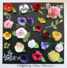 Flowers by Selma Stevenson  (081712)  [Cheery Lynn Build A Flower #2 and Build A Flower #2 Embellishments]