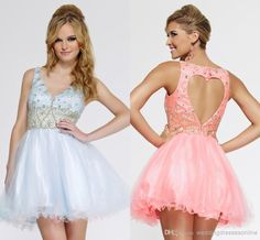 Back to School V-neck Sleeveless Short Homecoming Party Dress Beaded Tulle Mini A-line Heart Shaped Hollow Back Cocktail Dresses Gowns 2014 Online with $81.99/Piece on Weddingdressesonline's Store | DHgate.com