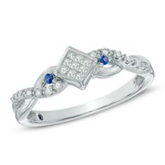 Cherished Promise Collection™ 1/10 CT. T.W. Diamond and Blue Sapphire Twist Promise Ring in 10K White Gold
