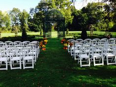 The mums are a great simple way to decorate the ceremony aisle.