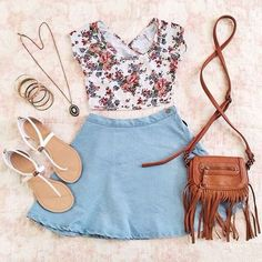 Floral Top and Denim Skirt with White Sandals and Long Necklace