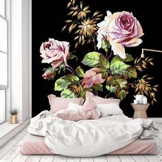 "Removable Wallpaper Mural Peel & Stick Vintage Floral Art (112W"" x 112H"" Inches) - - Amazon.com"