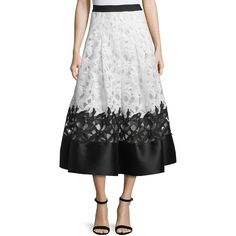 Sachin & Babi Noir colorblock lace jacquard skirt.  Banded natural waist.  Pleated from hips.  Flared A-line silhouette.  Wide satin-trimmed hem.  Back zip.  P…