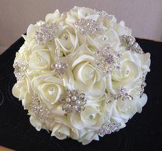 Ivory Foam Rose Brooch Bouquet by BouquetBliss on Etsy