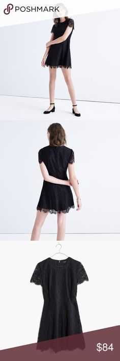 "Floral Lace Dress | Madewell Used and in good condition.  PRODUCT DETAILS A flattering feminine shape in a special floral lace with gently scalloped edges. Undeniably pretty.   True to size, waisted. Falls 35 3/4"" from shoulder. Nylon/rayon. Dry clean. Import. Madewell Dresses"