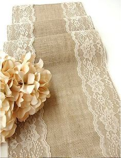 Rustic Chic Burlap Hand Made Wedding Table Runner