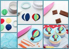 Hot air balloon cupcake toppers tutorial - cake decorating NO LINK