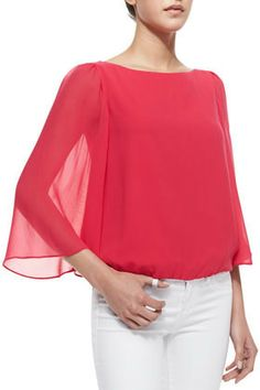 Alice + Olivia Katelyn Sheer-Bell-Sleeve Top, Pink on shopstyle.com
