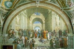 The School of Athens by Raphael: 1510-1522. Italian Renaissance.   Raphael was commissioned to paint the rooms of the Vatican. This painting is seen as his masterpiece, and a classic embodiment of the Renaissance. It represents Greek philosophy and the knowledge from the Renaissance. Plato and Aristotle are central figures in the scene, with many other Greek philosophers depicted.