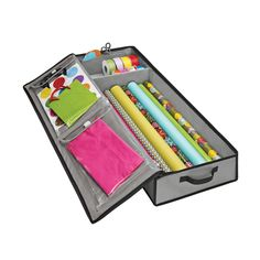 Grey Wrap & Tote Organizer - $20/ea - may be a better solution due to having a space for tissue paper & gift bags.