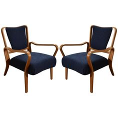 "Pair of 1948  ""Linden"" Beech Armchairs by G.A. Jenkins for Tecta 