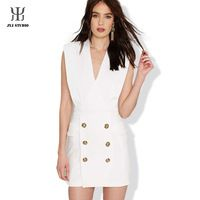 Office Dress Summer Sexy Short White Dress Slim Summer Dress Women Pencil Dress Sleeveless Button Package Work Dress