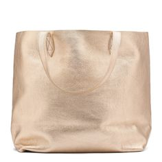 Shimmer Leather Tote Champagne