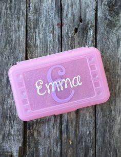 Personalized Pencil Box Art Box Crayon Box School Box -- Free Shipping in USA by customvinylbydesign on Etsy
