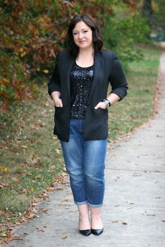 Black tux jacket and sequined tank with boyfriend jeans and pointed toe pumps