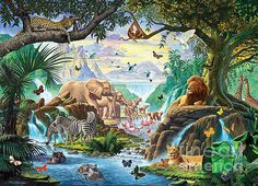 Jungle Five by Steve Crisp, a wallpaper wall mural from Magic Murals. Wildlife Wallpaper, Animal Wallpaper, African Jungle, African Animals, Jungle Art, Jungle Animals, Paradise Pictures, Jungle Illustration, Tier Wallpaper