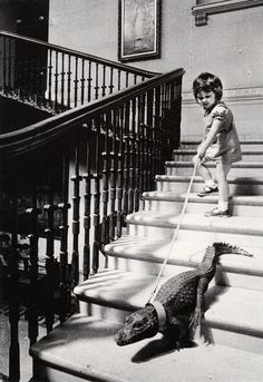 """Walking My Crocodile"" | Photograph by John Drysdale, c.1960s"
