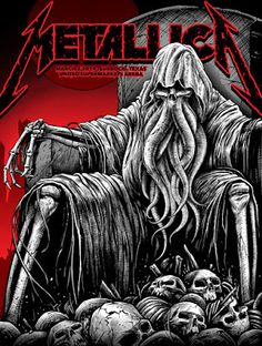 Metallica - silkscreen concert poster (click image for more detail)Artist: United Supermarkets ArenaLocation: Lubbock, TXConcert Date: x numberedCondition: MintNotes: numbered in pencil, this silkscreen poster is on medium weight white colored paper. Metallica Concert, Metallica Art, Muro Rock, Arte Heavy Metal, Rock Band Posters, Heavy Metal Rock, Black And White Posters, Art Carved, Thrash Metal