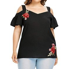 c796c8b3ed2 Women Plus Size Applique Strapless Ruffles Blouse Short Sleeve Tops Shirt    You can get more