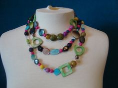 CHEAPLY PRICED. $35.00. FREE NECKLACE WITH EVERY PURCHASE! Multi-Gemstones Necklace.  Necklace ranges between 62 and 64 inches in length. This necklace comes with matching earrings and bracelet. https://www.etsy.com/ca/shop/JehovahJJewellery?ref=si_shop