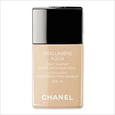 CHANEL VITALUMIERE AQUA FOUNDATION:  Ditch winter's heavy finish foundations for Chanel's light-as-air version ($45; chanel.com). We love how it glides on like a tinted moisturizer, but imparts an airbrushed effect.