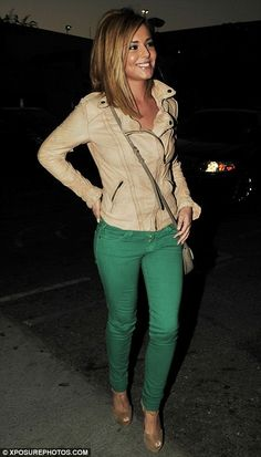 Cream biker jacket, green skinnies