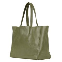 Leather Olive Green Carrier Bag