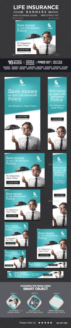 Life Insurance Banners | #webbanner #banners | Download: http://graphicriver.net/item/life-insurance-banners/10469761?ref=ksioks