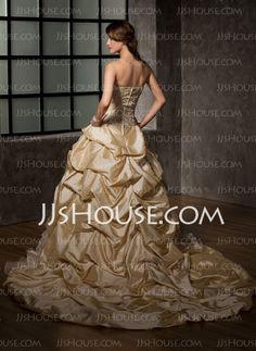 Ball-Gown Sweetheart Cathedral Train Taffeta Organza Wedding Dress With Ruffle Beadwork Flower(s) (002008171)