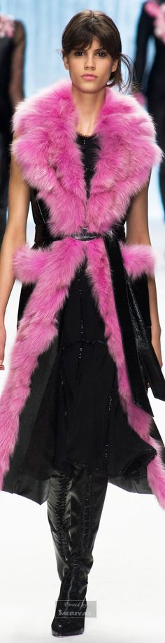 Shiatzy Chen.Fall 2015 . - outfit clothes with hot pink fur along edge style fashion colors designer pink couture fashion pink and black style