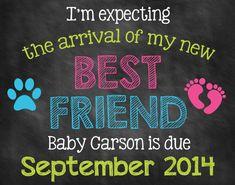 Printable Chalkboard Pregnancy Announcement // Pregnancy Reveal // Best Friend