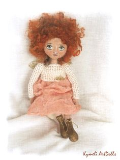 Collectible ArtDoll  (28cm) Soft Dolls, Hand Lettering, Knit Crochet, Teddy Bear, Knitting, Toys, Handmade, Angel, Animals