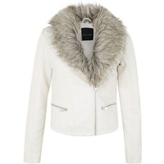 Cream Leather-Look Faux Fur Collar Biker Jacket (1057290 BYR) ❤ liked on Polyvore featuring outerwear, jackets, winter white, motorcycle jacket, white winter jacket, biker jacket, white faux leather jacket and white moto jacket