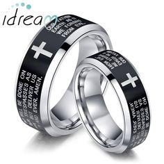 Cross Matching Tungsten Wedding Bands Set