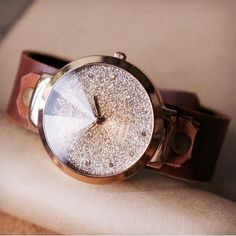 Glitter Face Leather watch