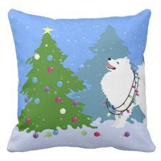 American Eskimo Dog Decorating Christmas Tree Throw Pillow