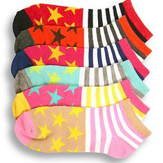 6 Pair Womens Ankle Socks Size 9-11 Multi-Color Striped Novelty Fashion Set Pack #Mamia #Casual
