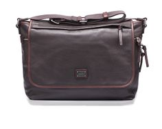 Leather briefcase vintage effect, with cotton wide shoulder strap by @Dolce & Gabbana