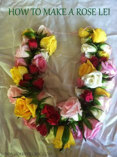 I was recently inspired on how to make a lei, specifically a fresh flower lei with roses. The inspiration came from a trip to our local farmers market. Flower Lei, Flower Garlands, Flower Crafts, Diy Flowers, Fresh Flowers, Graduation Flowers, Graduation Crafts, Graduation Leis, Graduation Regalia