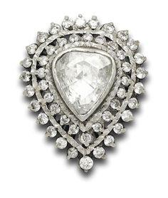 Estate Collection Vintage Rose Cut Diamond Brooch/Pendant Vintage Roses, Vintage Brooches, Diamond Brooch, Rose Cut Diamond, Pear Shaped, Heart Ring, Jewels, Pendant, Silver