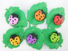 Ladybug on Leave Japanese Erasers.